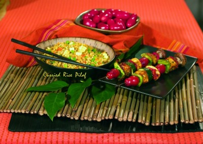 Fried Rice – Tofu Kebob