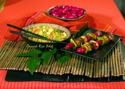 Fried Rice – Tofu Kebob
